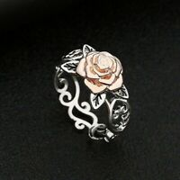 New Women 925 Silver Floral Ring 14k Rose Gold Flower Wedding Wedding Jewellery