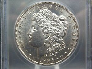 """1886 """"S"""" Morgan Silver Dollar $1 ICG MS61 East Coast Coin & Collectables, Inc."""