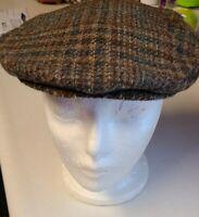 VTG PENDLETON Virgin Wool Plaid Flat Newsboy Cabbie Gatsby Hat Cap Size Medium