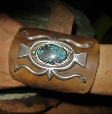 Sandcast Ketoh Bowguard Cuff Bracelet with Natural Turquoise & Supple Leather