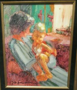 LEE HAMBLEN MOTHER AND CHILD ORIGINAL OIL ON MASONITE PAINTING