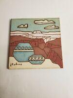 Vintage Earthtones Tile/Trivet. Signed by L. Kuhne. Mesa Scene With Pottery.