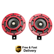 Universal Super Grille Mount Tone Loud Compact Electric Horn Kit 2pcs 12v Red