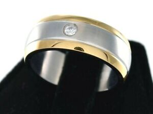 Engravable Dual Gold Finish Stripe Clear CZ Stainless Steel 316L Ring