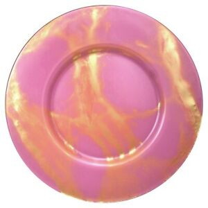 Set/4 THASSOS Blush/Gold Mableized Glass Charger Plates