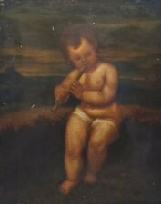 Manner of TITIAN Antique Oil Painting of a Child Playing the Flute NO RESERVE