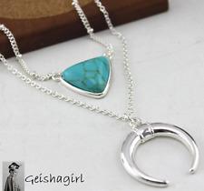 Women Boho Half Moon Triangle Silver Pendant Necklace Twin Multi ChainUK Seller