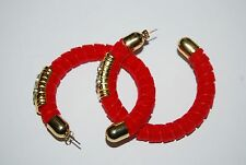 VINTAGE 1980'S BOLD COUTURE RED VELVET HOOP WITH RHINESTONES PIERCED EARRINGS