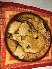 Ornate Lion Chain Raw Edge Yellow Ivory Olive Brown Scarf B15