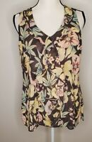 Cabi Size Small Women's Top Ruffle Front Floral Tank Blouse #3265
