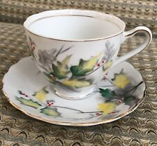 Kasuga Ware Japan Tea Cup Saucer Set Flower Of The Month Series # 12 Holly