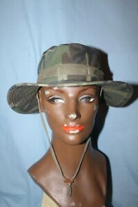 Vintage 80's 90's ERDL Style Woodland Camo Camouflage Boonie Hat Cap Size Small