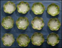 Set 12 RS Germany 4 7/8 inch Porcelain Berry Bowls Green with Violet Flowers