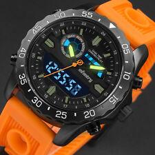 INFANTRY Mens Digital Quartz Wrist Watch Stopwatch Date Day Orange Rubber Sport