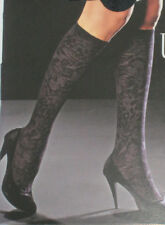 Floral Brocade Opaque Pattern Black Knee High Tights Pop Socks. Great Quality