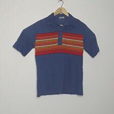 Vintage 60s Lightning Bolt Surf Skate Shirt Mens M Blue with Multicolor Stripes