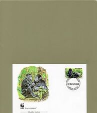 TIMBRE FDC  2 WWF ANIMAUX SINGES GORILLES NIGERIA/WWF STAMPS FDC ANIMALS MONKEYS