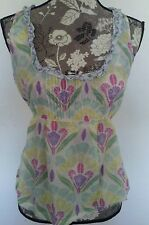 Anthropologie Odille Silk Blend Sheer Floral Tie Sleeveless Top Sz 4