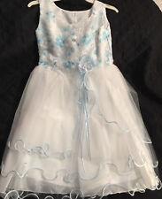 Angels Garment Girls Blue White Lace Mesh~ Flower Girl ~ Easter Dress Size 5 New
