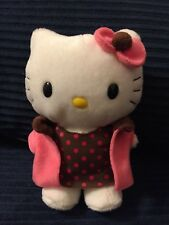 "SANRIO NAKAJIMA HELLO KITTY 6"" PLUSH PINK COAT BROWN DRESS"
