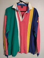 Vintage Nautica Multi-Color Pastel Stripes L/S Rugby Polo Shirt - Men's XLarge