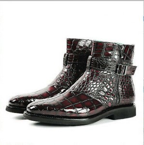 Mens Snakeskin Fashion Pointed Toe Ankle Boots Retro Buckle Party Dress Shoes