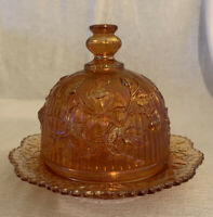 Antique Vintage Carnival Glass Imperial Marigold Rose Pattern Butter Dish