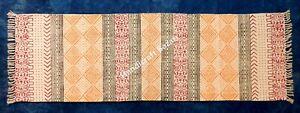 Vintage Handmade Dari Runner Cotton Dhurrie 2x6'Rug Block Print Carpet Kilim Mat