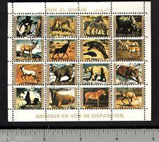 Endangered Animals miniature sheet of 16 stamps CTO tiger polar bear cheetah