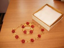 RED ROSES NECKLACE & BROACH SET