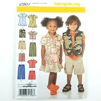 Simplicity Pattern · 2907 · Size A 1/2-4 · Toddler Pants Shorts Dress Vest Shirt
