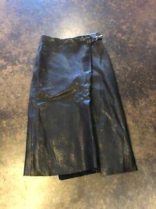 Etro  black leather Wrap Front Slit  skirt XS 38
