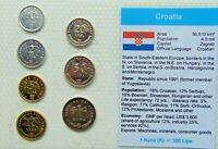 Mixed CROATIA, Set of 7 GEM UNCIRCULATED COINS in a see through container