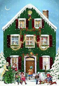 Mini House Advent Calendar Christmas Victorian Style Glittered envelope c