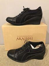 New Akaishi Haori Black Wedge Lace Zip Oxford Women Size 8