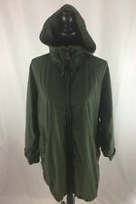 EDDIE BAUER WOMEN'S FULL ZIP RAIN LONG JACKET COAT HOODED  SIZE MEDIUM GREEN