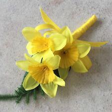 Daffodil Silk Flower Yellow Satin Bound Stem Artificial Wedding Corsage