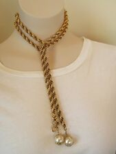 """VTG 42"""" Textured Gold Tone Braided Link Chain Faux Pearl Lariat Necklace"""