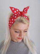 HEAD SCARF HAIR BAND RED  POLKA DOT SPOTS BUNNY LINED TIE BOW  ROCKABILLY band