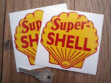 "Super Shell Classic Petrol Pump STICKERS 4"" Pair Car Classic Gasoline Bike Race"