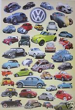 "AUTOMOBILES ""VW BEETLES THROUGH THE YEARS"" POSTER - Collage of 39 VW Beetles"