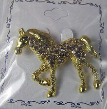 Gold-tone HORSE RHINESTONE PIN Sparkly Fun Fashion Jewelry New 1.75 x 1.5 inches