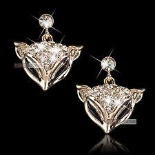 18k rose gold gp made with SWAROVSKI crystal fox stud earrings filigree