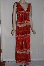 BISOU BISOU Full Length Long Red Fire Tie Dye Acid Wash Stretch Womens Dress 6