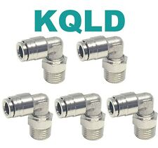5 Pcs 1/4 Od x 1/8 Npt Camozzi type Swivel Elbow Push In to Connect Fitting