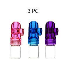 3 x - 1g Snuff Bullet Dispenser Snorter Rocket Acrylic Glass Bottle Nasal Pipe