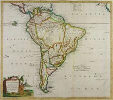 SOUTH AMERICA BRAZIL CHILE PERU AMAZONIA ENGRAVED MAP THOMAS KITCHIN 1780 K85