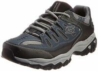 Skechers Mens Memory Fit 50125 Low Top Lace Up Running Sneaker, Navy, Size 8.5 q