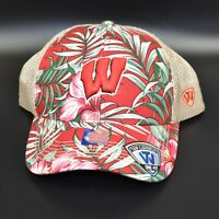 Wisconsin Badgers Top of the World Floral Mesh Back Stretch Men's Fitted Cap Hat
