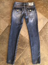 True Religion Jeans Section Skinny Distressed Flap Pockets Junior's Size 24